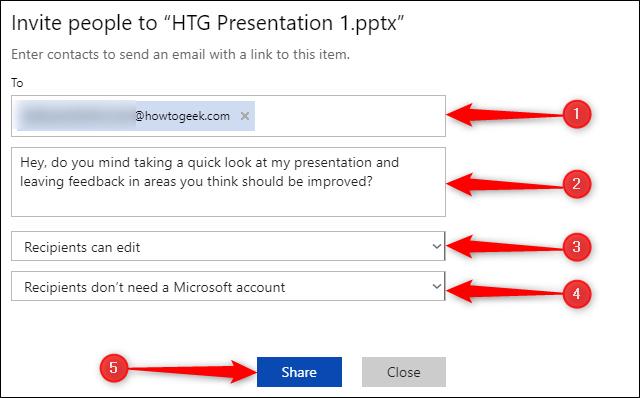 """le """"Inviter des personnes à"""" menu dans PowerPoint."""