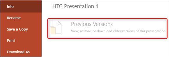 """le """"Versions précédentes"""" option grisée dans PowerPoint."""