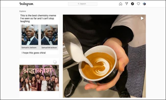 """L'Instagram """"Explorer"""" page sur un navigateur de bureau."""