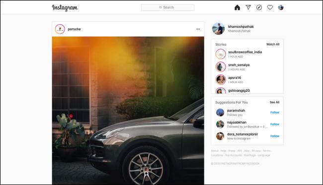 Un flux Instagram sur un navigateur de bureau.