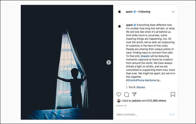 La photo Instagram sur un navigateur de bureau.