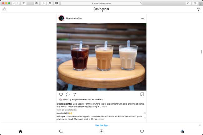 La mise en page mobile Instagram dans Safari sur un Mac.
