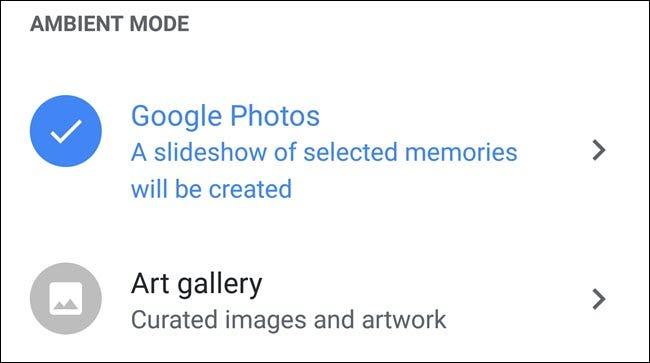 Paramètres du mode ambiant de Google Home, avec Google Photos sélectionné.