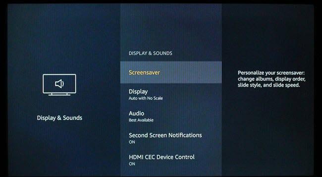 Boîte de dialogue des paramètres d'affichage et de sons FireTV.