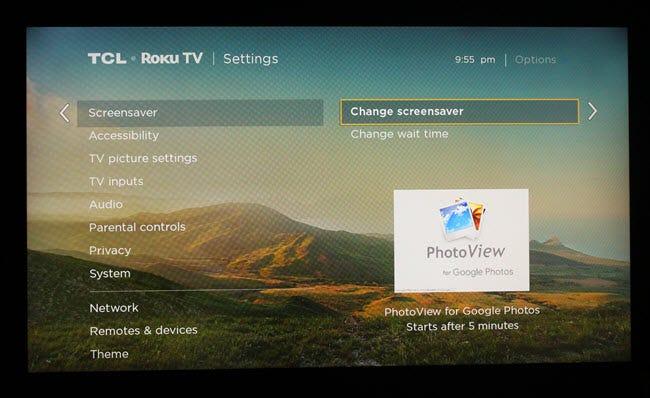 Boîte de dialogue des paramètres de l'économiseur d'écran Roku, avec PhotoView sélectionné.