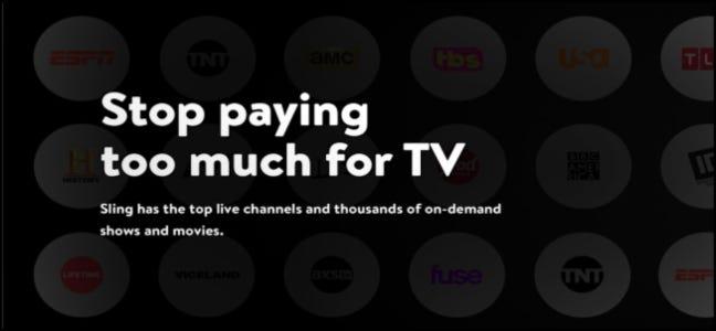 Page principale de Sling TV