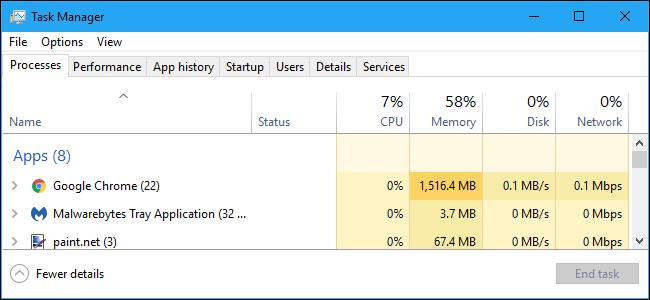Une capture d'écran du logiciel Windows Task Manager