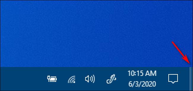 Le bouton Afficher le bureau de Windows 10