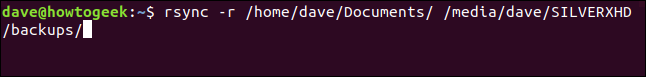 rsync -r / home / dave / Documents / / media / dave / SILVERXHD / backups / na fenêtre du terminal