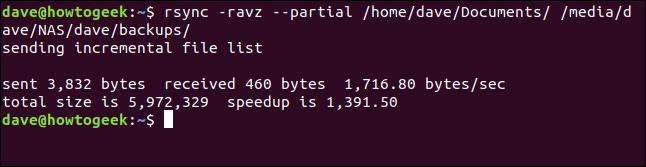 sortie fromrsync sans fichiers à transférer dans une fenêtre de terminal