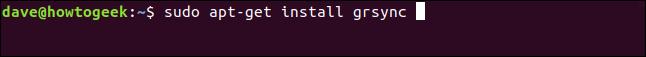 sudo apt-get install grsync dans une fenêtre de terminal