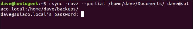 rsync -ravz --partial / home / dave / Documents / dave@sulaco.local: / home / dave / Backups / dans une fenêtre de terminal