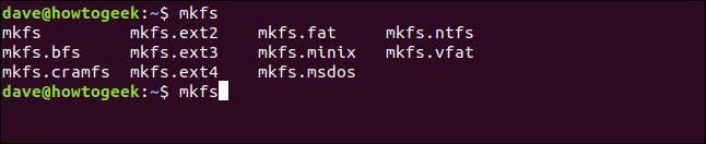 Liste des systèmes de fichiers pris en charge dans une fenêtre de terminal