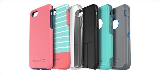 Six coques de téléphone Otterbox de différentes couleurs et designs.