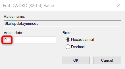 Définissez la valeur DWORD sur 0