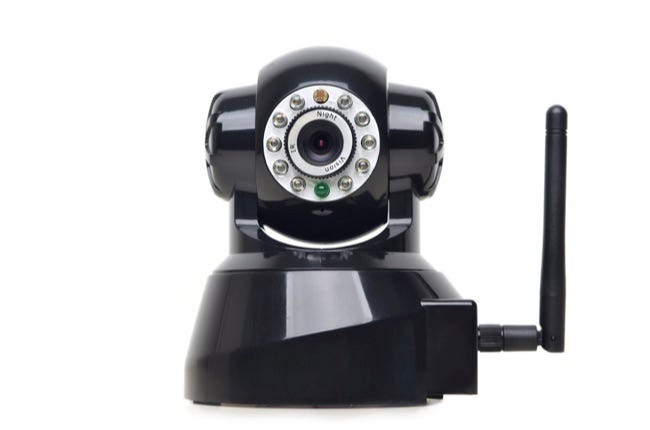 Image d'une caméra IP sans fil sur une caméra blanche