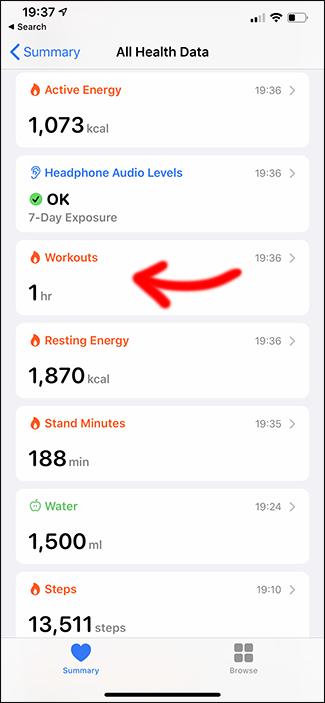 application de santé Apple supprimant un entraînement
