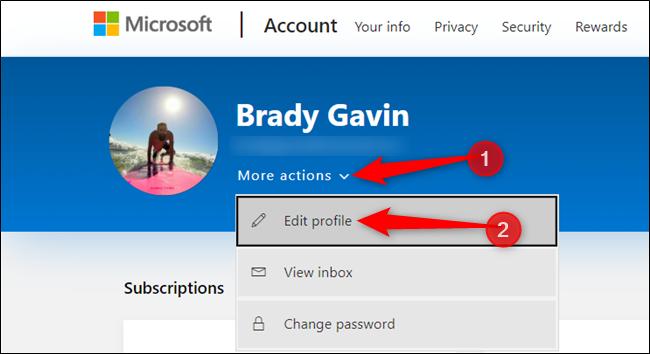 """Cliquez sur """"Plus d'actions"""" et cliquez sur """"Editer le profil"""" dans la liste ci-dessous."""