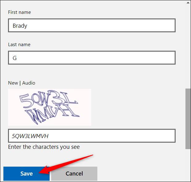 """Entrez votre nouveau nom (prénom et nom), suivi du défi CAPTCHA.  Cliquez sur """"sauver"""" Une fois terminé."""