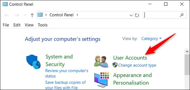 """Cliquer sur """"Comptes utilisateur."""""""