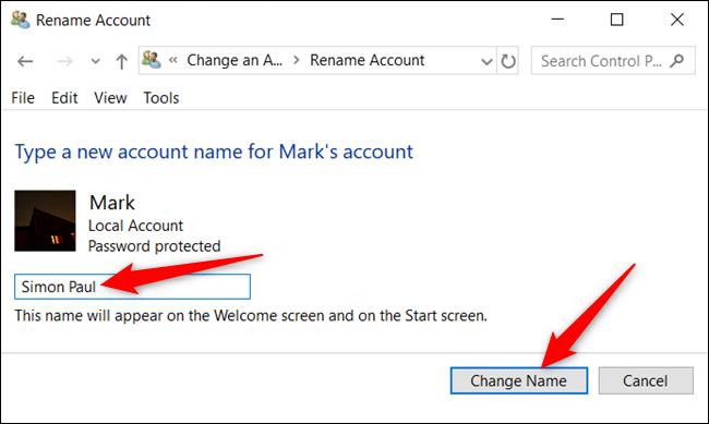 """Tapez un nouveau nom et cliquez sur """"Changer de nom."""""""