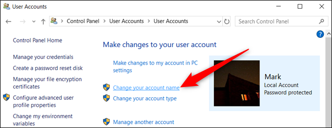 """Cliquer sur """"Changez le nom de votre compte."""""""