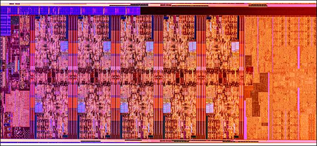 Une matrice Comet Lake Silicon en violets, bleus et oranges.