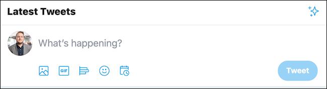 Cliquez sur la zone de tweet en haut de la page