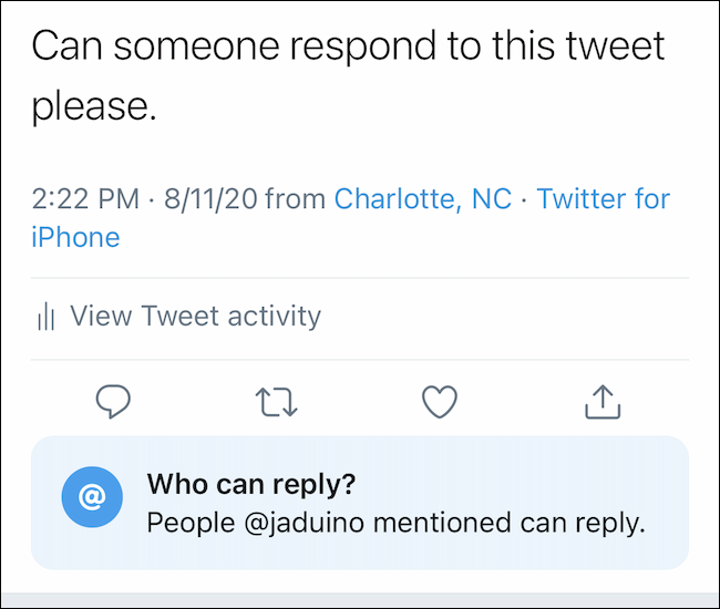 Une fois sélectionné, le tweet affichera votre paramètre de réponse