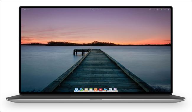 La distribution Linux OS élémentaire sur un ordinateur portable.