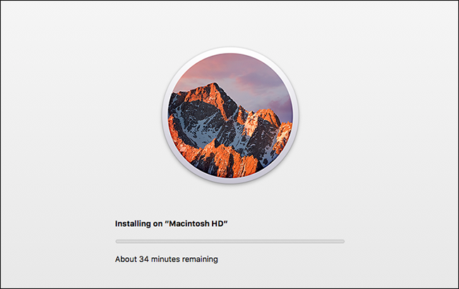 Une barre de progression montrant le processus d'installation de macOS.