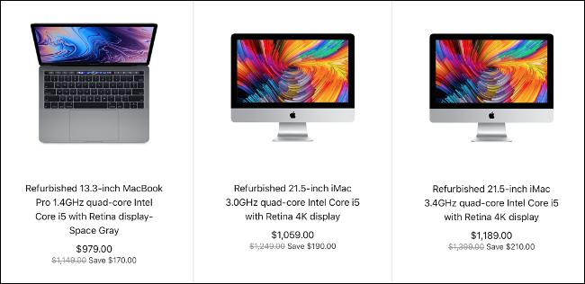 Trois Mac reconditionnés en vente sur le site Web d'Apple.