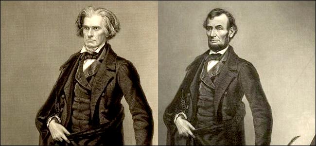 Une gravure de Calhoun à côté d'une gravure de Lincoln.  De toute évidence, le visage de Lincoln a été superposé au corps de Calhoun.  Sinon, les gravures sont identiques.