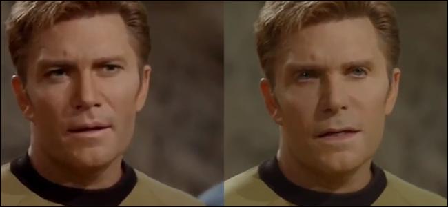 Une scène de Star Trek avec le capitaine Kirk joué par Vic Mignogna.  Les fans ont créé un deepfake de cette scène où le visage de William Shatner est superposé à celui de Vic.  Ironiquement, le visage de Vic est celui qui a l'air profondément enfoncé.