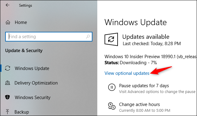 Affichage des mises à jour facultatives sur l'écran des paramètres de Windows Update.