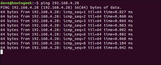 ping 192.168.4.28 dans une fenêtre de terminal