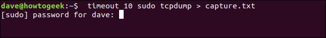 timeout 10 sudo tcpdump> capture.txt dans une fenêtre de terminal» width=»646″ height=»77″ onload=»pagespeed.lazyLoadImages.loadIfVisibleAndMaybeBeacon(this);» onerror=»this.onerror=null;pagespeed.lazyLoadImages.loadIfVisibleAndMaybeBeacon(this);»/></p> <p>(<code>tcpdump</code> a ses propres options pour enregistrer le trafic réseau capturé dans un fichier.  C'est un hack rapide car nous discutons <code>timeout</code>, ne pas <code>tcpdump</code>.)</p> <p><code>tcpdump</code>  commence à capturer le trafic réseau et nous attendons 10 secondes.  Et 10 secondes vont et viennent et <code>tcpdump</code> est toujours en cours d'exécution, et capture.txt continue de croître.  Il va falloir un Ctrl + C précipité pour s'arrêter <code>tcpdump</code>.</p> <p>Vérification de la taille de capture.txt avec <code>ls</code> montre qu'il est passé à 209K en quelques secondes.  Ce fichier grandissait rapidement!</p> <pre>ls -lh capture.txt</pre> <p><img loading=