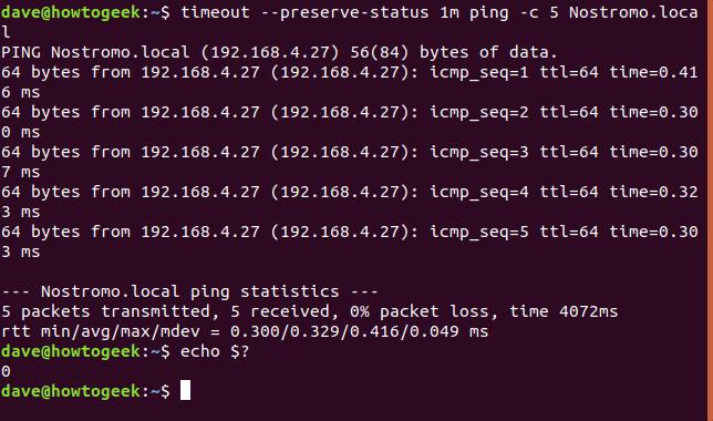 timeout --preserve-status 1m ping -c 5 Nostromo.local dans une fenêtre de terminal