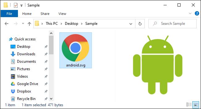 Prévisualisation d'un fichier SVG dans le volet Aperçu de l'Explorateur de fichiers.