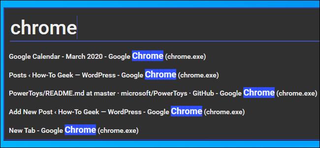 Recherche d'une fenêtre de navigateur Chrome dans Windows Walker PowerToy
