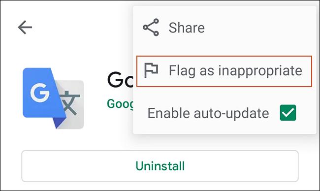 Cliquez sur le menu à trois points pour les détails de votre application dans Google Play Store