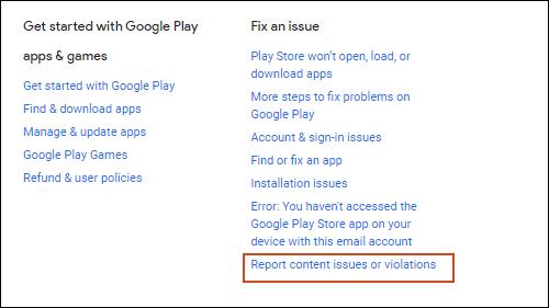 Cliquez sur Signaler les problèmes de contenu ou les violations