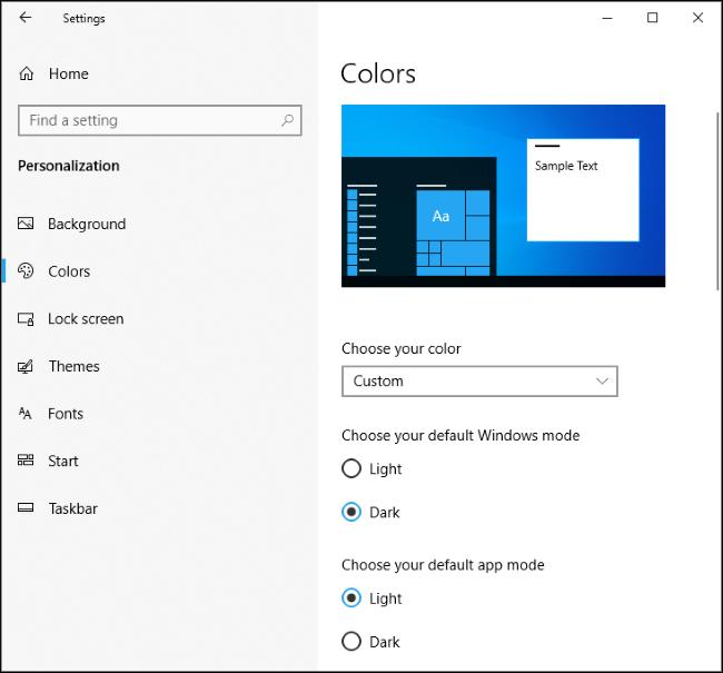 Ancien mode Windows sombre et mode d'application claire de Windows 10