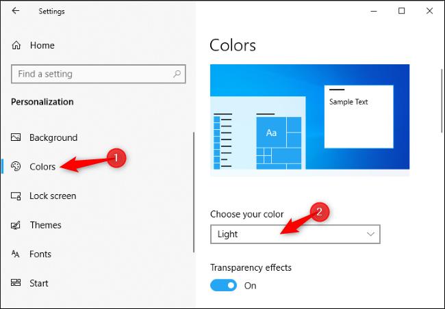 Activation du thème clair dans l'application Paramètres de Windows 10