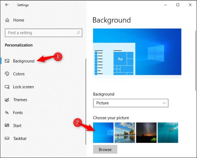 Sélection du nouvel arrière-plan du bureau par défaut de Windows 10