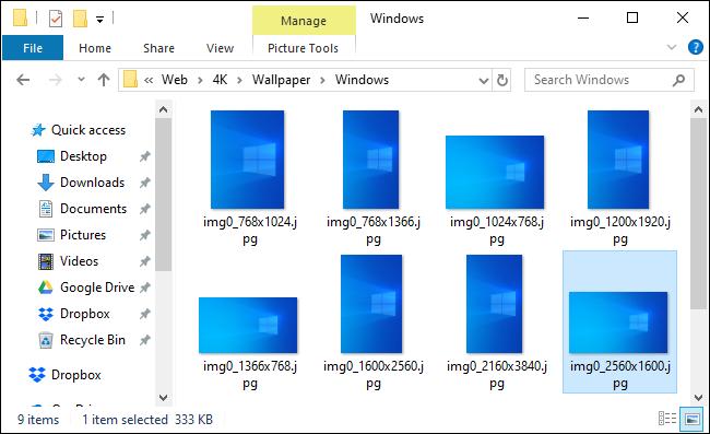Emplacement du fond d'écran par défaut de Windows montrant un nouveau fond d'écran clair