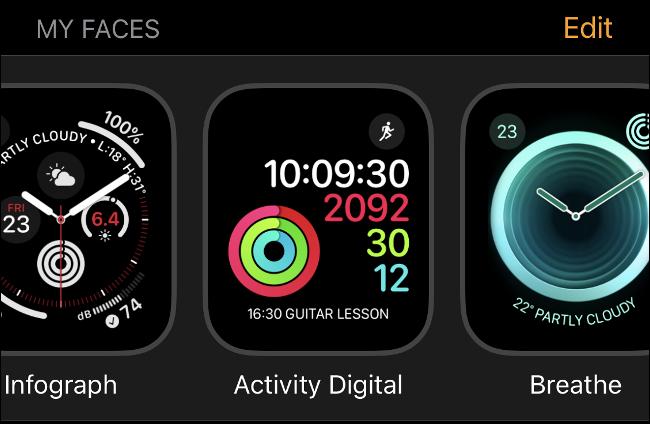 """La """"Mes visages"""" L'horloge de l'Apple Watch fait face à l'écran dans watchOS 6."""