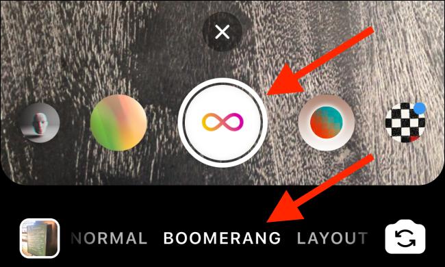 Appuyez sur le bouton Obturateur pour prendre un Boomerang.