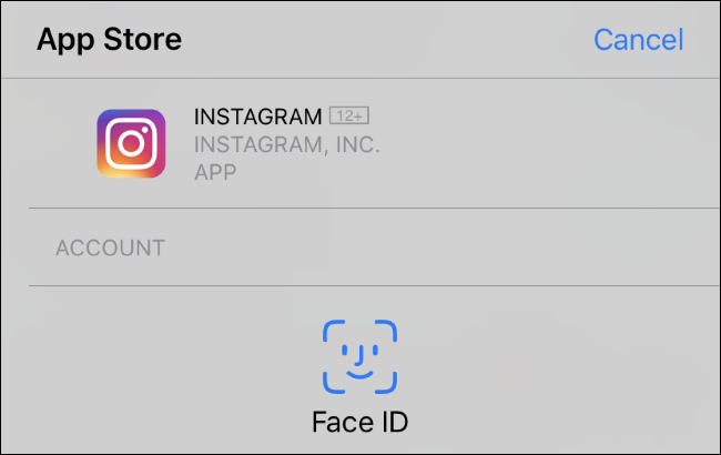 Invite Face ID pour installer une application sur un iPhone XR.