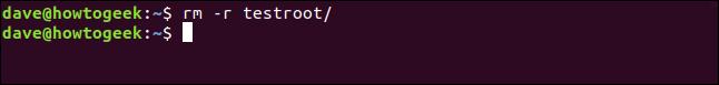rm -r testroot / dans une fenêtre de terminal